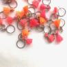 Anneaux Marqueurs Pompons Rose Fluo/Orange Fluo/Corail