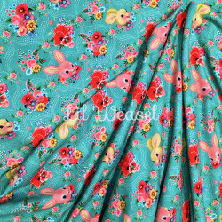 Jersey Lapins fond turquoise