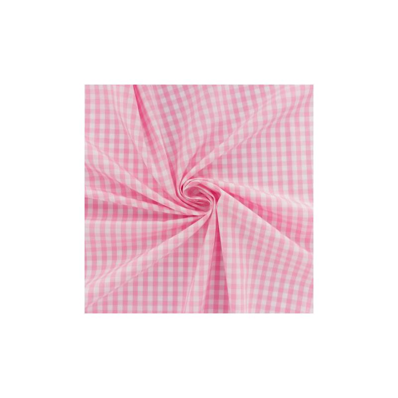 Popeline de coton Vichy Rose
