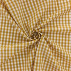 Popeline de coton Vichy Moutarde